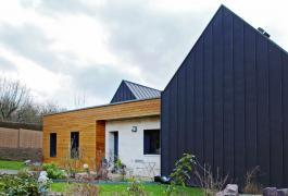 Maison en double-nef ossature bois à énergie positive à Pavilly (76)