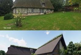 Agrandissement d'une chaumière en colombage et toiture chaume à Fourneville (14)
