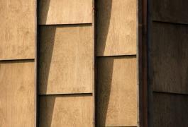 Ecrin d'écailles de bois en bord de rivière à Notre Dame de Gravenchon